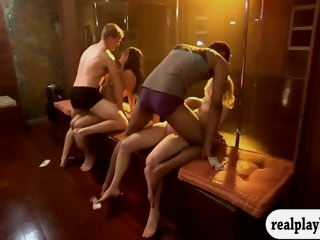 Sexy women learn pole..
