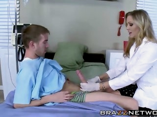 Busty doctor makes her..