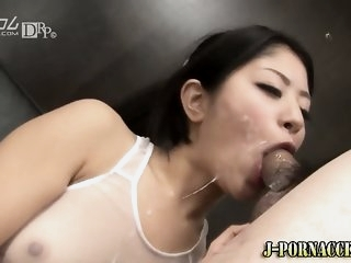 Facialized asian babe swallows