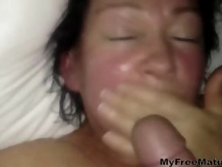 mature lady gets a mouthful..