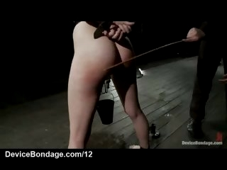 Tied up brunette caned and..